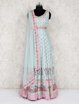 Cotton party light blue anarkali salwar suit