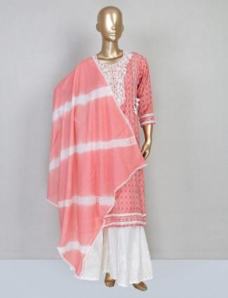 Cotton peach festive sharara salwar suit