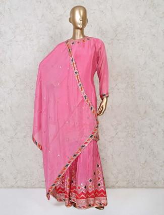 Cotton pink punjabi sharara suit in cotton