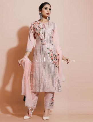 Cotton pink round neck kurti set