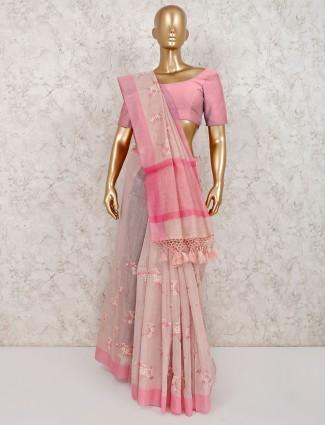 cotton pink thread weaving saree