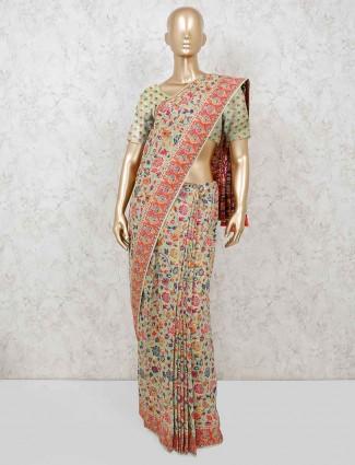 Cotton pista green beautiful saree