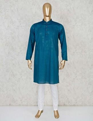 Cotton rama green color kurta suit