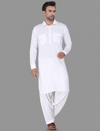 Cotton rayon white plain pathani suit