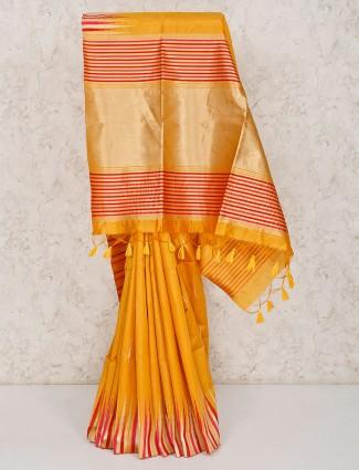 Cotton saree in mustard yellow