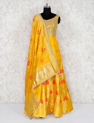 Cotton silk anarkali salwar suit in yellow hue