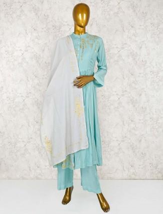 Cotton silk aqua color punjabi salwar suit