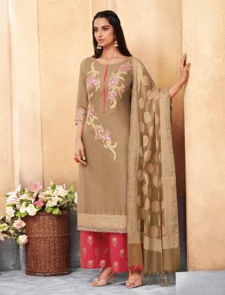 Cotton silk beige hue quarter sleeves punjabi palazzo suit