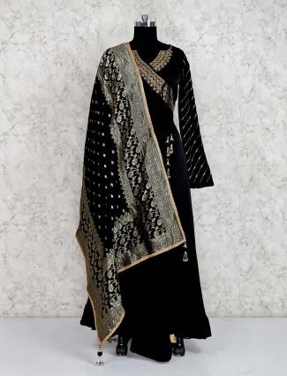 Cotton silk black anarkali floor length anarkali salwar suit