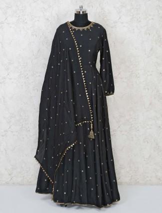Cotton silk black floor length anarkali suit in party