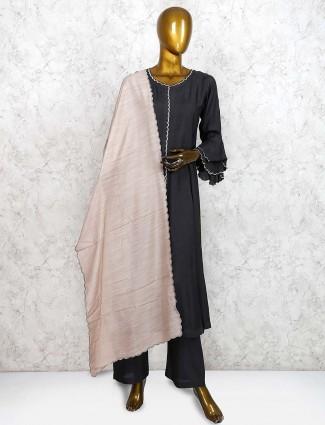 Cotton silk black hued punjabi salwar suit