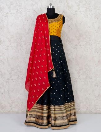 Cotton silk black lehenga choli for party function