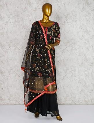 Cotton silk black punjabi palazzo suit