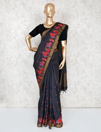 Cotton silk black saree