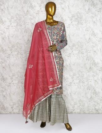 Cotton silk blue punjabi sharara suit