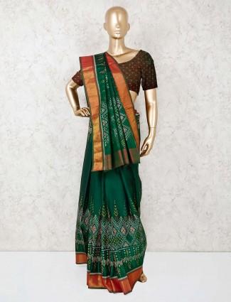 Cotton silk bottle green saree