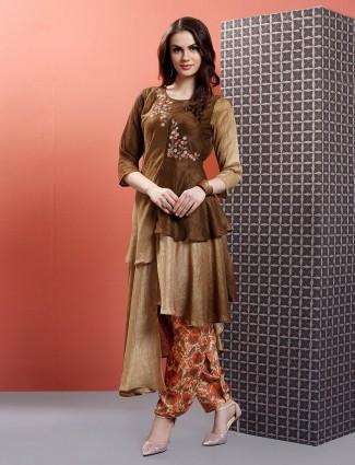 Cotton silk brown designer kurti set