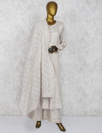 Cotton silk cream color festive occasion palazzo suit