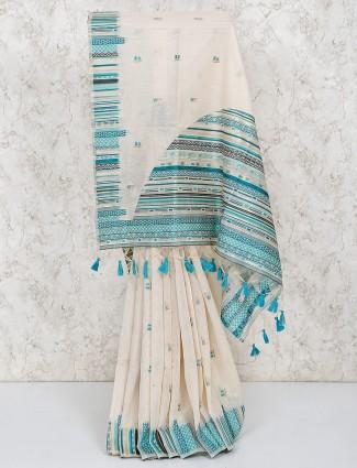 Cotton silk cream color simple saree