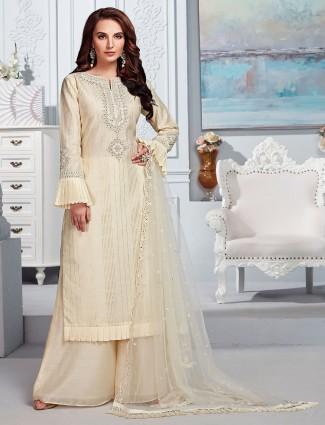 Cotton silk cream full sleeves punjabi palazzo suit