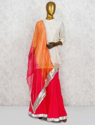 Cotton silk fabric cream color punjabi sharara suit