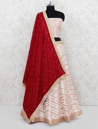 Cotton silk fabric cream color semi stitched lehenga choli