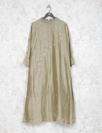 Cotton silk fabric green hue festive kurti