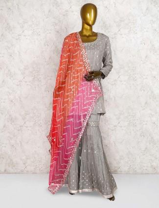 Cotton silk fabric grey hue punjabi sharara suit