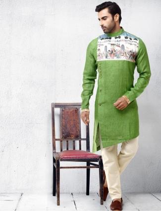 棉丝织物浅绿色kurta西装