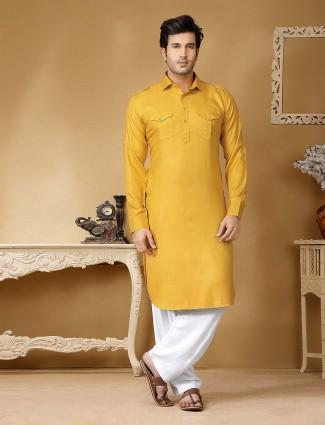 Cotton silk fabric mustard yellow hue pathani suit