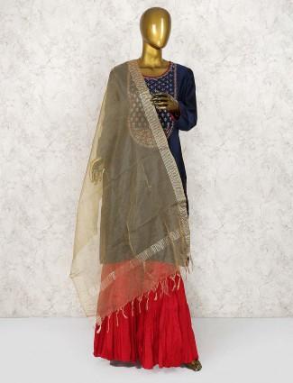 Cotton silk fabric punjabi sharara suit in navy blue