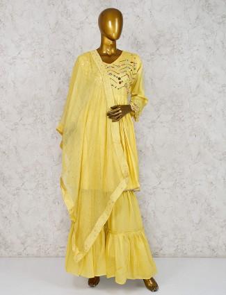 Cotton silk fabric yellow hued punjabi sharara suit
