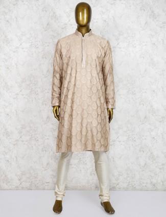 Cotton silk farbic beige hue kurta suit