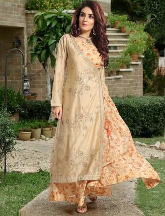 Cotton silk festive beige color designer salwar suit