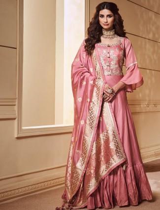 Cotton silk festive floor length salwar suit in peach color