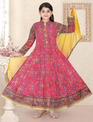 Cotton silk festive pink color floor length anarkali salwar suit