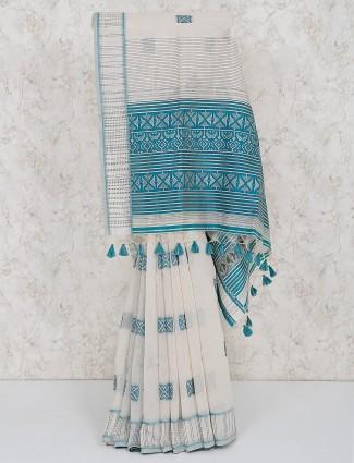 Cotton silk festive simple off white saree