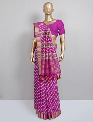 cotton silk festive wear purple saree