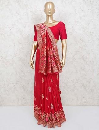 Cotton silk festive wear red saree