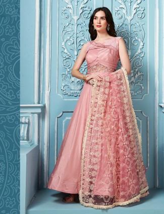 Cotton silk floor length anarkali salwar suit in pink color