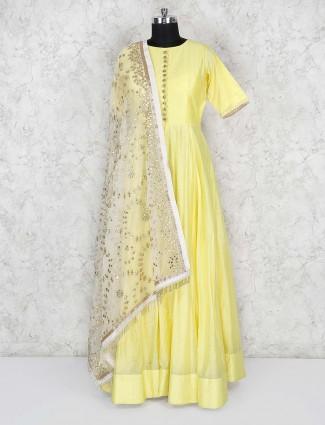 Cotton silk floor length anarkali salwar suit in yellow