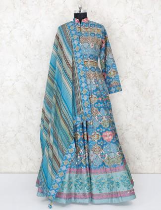 Cotton silk floor length anarkali suit in blue