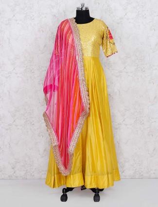 Cotton silk floor length yellow color anarkali salwar suit
