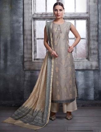 Cotton silk grey beautiful punjabi palazzo suit