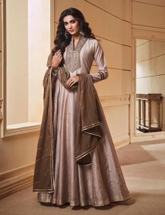 Cotton silk grey color anarkali salwar suit