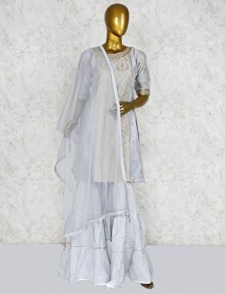 Cotton silk grey festive punjabi sharara suit