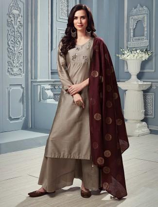 Cotton silk grey hue punjabi palazzo suit