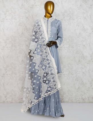 Cotton silk grey hue punjabi sharara suit