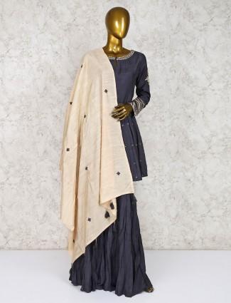 Cotton silk grey hued punjabi sharara suit