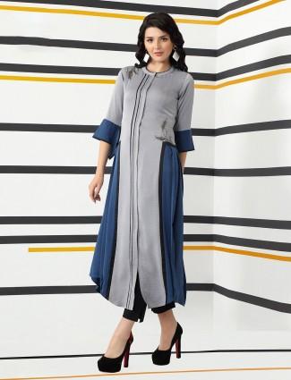Cotton silk grey kurti set